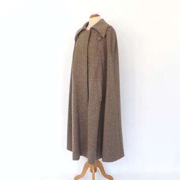Vintage 1970s Tan Brown Wool Cape Coat Long Tweed Cloak Formal Winter Overcoat Mad Men Boho Couture Mod 1960s Cape Sherlock Holmes Coat