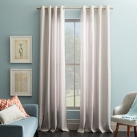 Cotton Canvas Grommet Curtain - Frost Gray