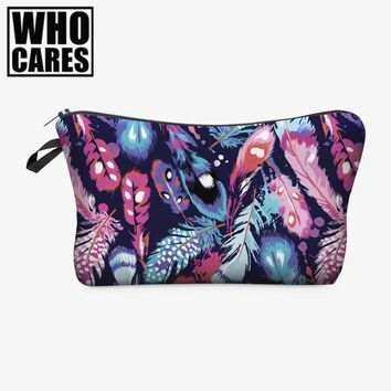 Feathers color 3D Printing cosmetic bag organizer toiletry bag 2016 Fashion pencil makeup bags pouch necessaire makyaj cantasi