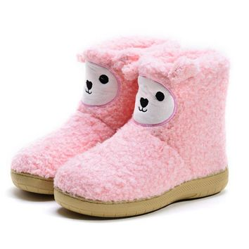 Adorable Pink Bootie Slippers for Womens Sheep Slippers, US 5.5-6