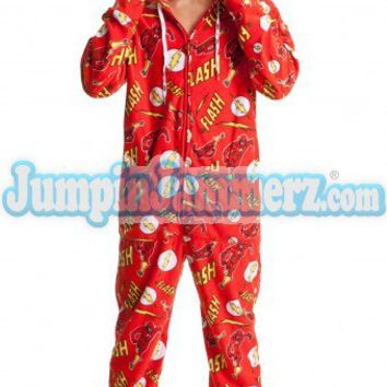 The Flash - Warner Bros. DC Comics - Pajamas Footie PJs Onesuits One Piece Adult Pajamas - JumpinJammerz.com