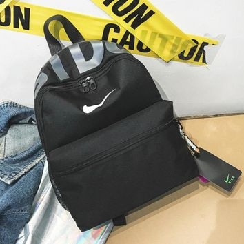 NIKE Fashion New Hook Letter Print Women Men Backpack Bag Full Black