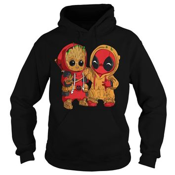 Deadpool and baby Groot shirt Hoodie