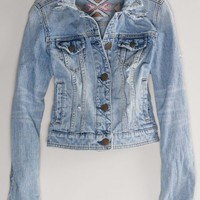 AEO Women's Embroidered Denim Jacket (Medium Authentic Destroy)