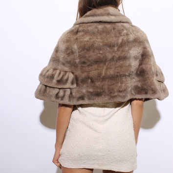 60s TIERED FAUX FUR cape stole shawl wrap ruffle mink scarf caplet brown tan striped fluffy osfa