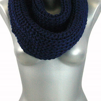 Thick Knit Infinity Scarf - Navy