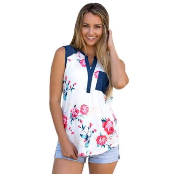 Summer Womens Sleeveless T-Shirt Flower Print Sexy V neck Crop Tops Vest White Tops Cover up Femme Blusas