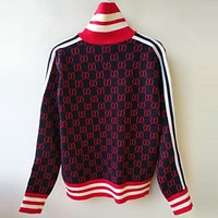 GUCCI Fashion Women Men Double G Jacquard Letter Zipper Knit Top Cardigan Sweater Blouse Coat Red