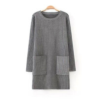 Gray Vertical Stripe Pocket Midi Knitted Sweater
