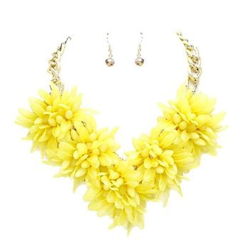 Yellow Flower Statement Necklace & Earring Set