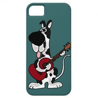 Funny Harlequin Great Dane Playing Guitar iPhone 5 Cases from Zazzle.com