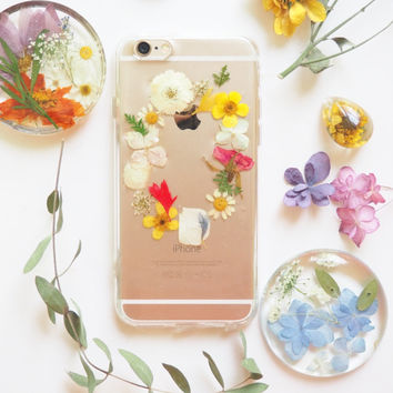 FREE SHIPPING - The flowers garden pressed flower bumper phone case (花の庭押し花電話ケース)