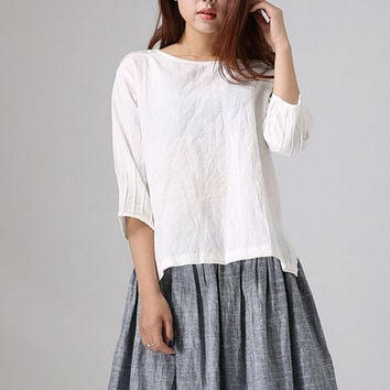 Loose white women shirt (77711)