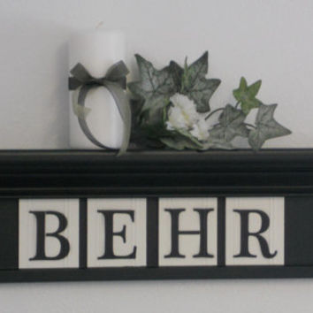 "Personalized Family Name Signs 24"" Shelf with 4 Wooden Letter Tiles Painted Black and White Customized for BEHR"