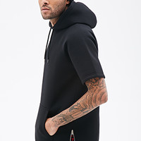 Zippered Scuba Knit Hoodie Black