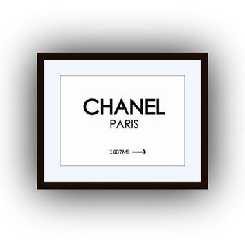 Chanel distance mark, 5 sizes, vintage, beige, printable, sign, wall art, home decor, poster decals, paris, girly room art, decoration, deco
