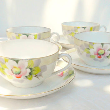 Antique Hand Painted Noritake Tea Cups and Saucers, Set of 4, Fine Bone China, Elegant Tea Party, Wedding, Housewarming Gift Inspired