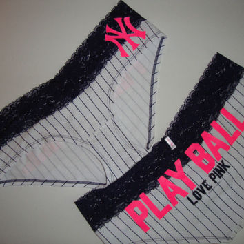 Victoria's Secret panty love pink New York Yankees play ball pinstripe lace M