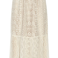 Anna Sui - Silk georgette-paneled lace skirt