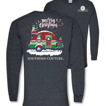 Southern Couture Preppy Christmas Camper Holiday Long Sleeve T-Shirt