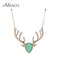 eManco 5Color Trendy Exquisite Kawaii Christmas Deer Choker Necklace & Pendant for Women Green Crystal Opal Copper Party Jewelry
