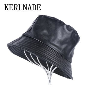 new men women fashion Bucket Hats leisure pu leather flat hat thick Pu leather spring autumn winter female male casual cap hats