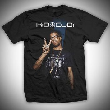 Kid Cudi Peace Sign Photo - Mens Black T-Shirt