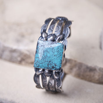 Sterling Silver Turquoise Marbeld Cuff