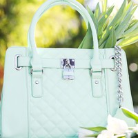 Quilted Lady Lockbox Satchel | Handbags | charming charlie