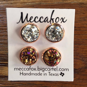 Mecca Fox Earring Set- 10MM Rose Gold Set of 2 (Rainbow and Silver)