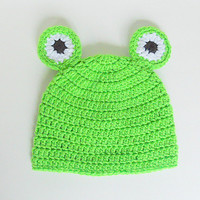 Infant Green Frog Hat With Eyes  Girl  Cap 3 To 6  Month Old Baby Boy  Lime Beanie Handmade Photo Prop Accessory