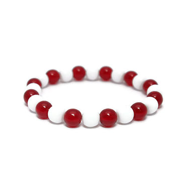 Red and White Team Bracelet - Football Mom Beaded Jewelry - Cheerleader Bracelet - Handmade Sports Jewelry - Cardinals or Your Team