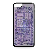 Word Art Tardis Doctor Who in Galaxy iPhone 6 Plus case