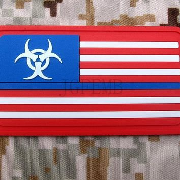 Color The thin blue line Resident Evil Umbrella Zombie Hunter American flag Tactical military morale 3D PVC patch PB1490