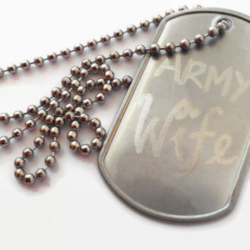 Army Wife Hand Engraved Artisan Made Dog Tag Necklace Womens Hers Her Gift Free Initials Word at the Back