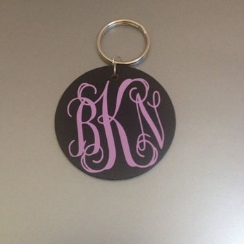 Monogrammed Wooden Keychain - Key Chain- Personalized - Customized - Different options available - Many Monogram Colors Available!