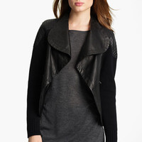 Yigal Azrouël Drape Front Leather & Knit Jacket | Nordstrom