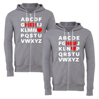 abcd him abcd her matching couple zipper hoodie