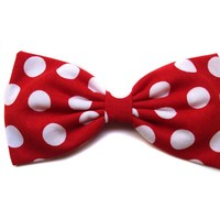 "Large Red Polka Dot ""Minnie Mouse Inspired"" Hair Bow- Rockabilly, Pin Up, Retro (Alligator Clip)"