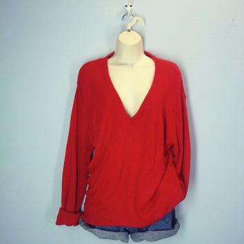 Vintage Jantzen Red 70s Sweater, Mens Red Sweater, Vee Neck Sweater, 1970s Soft Sweater, Size L