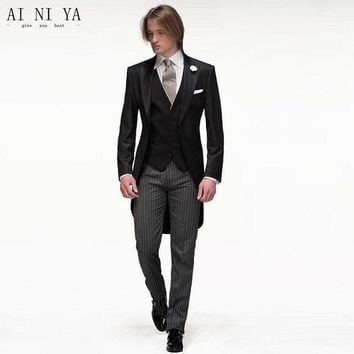 DCCKON3 jackets pants vestblack men suits slim fit groom tuxedos bridegroon formal prom party businessDress wedding suits male