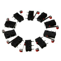 10Pcs Limit Switches, 3 Pin N/O N/C 5A 125V-250VAC Micro Switch Roller Lever Arm PCB Terminals KW12-3