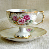 Vintage Iridescent Rose Teacup and saucer //  Birth month- June// Lusterware Tea Cup saucer- roses