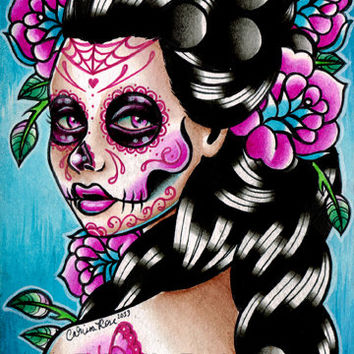 Sugar Skull Girl Signed Limited Edition Art Print - Vanessa - Day of the Dead Tattoo Illustration Flash - 5 of 25 - 5x7 in