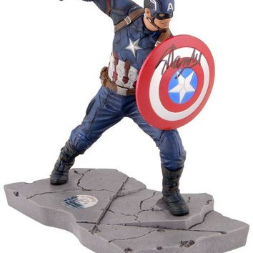 LMFONY Stan Lee Signed Autographed Captain America Mini Resin Statue (Stan Lee Holo)