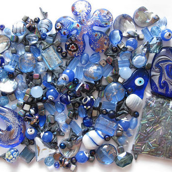 Dark Blue Indigo Mix Beads Pendants Over 230 Pcs Jewelry Making Crafts Arts Bugle Lampwork Glass Shell Flower Heart Lentil 20mm 18mm 12mm