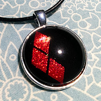 Harley Quinn's Ruby Red Diamonds on a Black Background Nail Polish Pendant Necklace