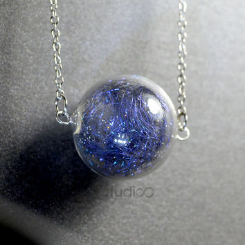 Planet earth in round hand blown glass ball silver necklace, Aurora necklace, Galaxy pendant