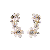 White Enamel Blooms Plumeria Flower Ear Crawlers Jackets  Fashion Earrings for Women