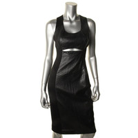 Black Halo Womens Faux Leather Cut-Out Clubwear Dress